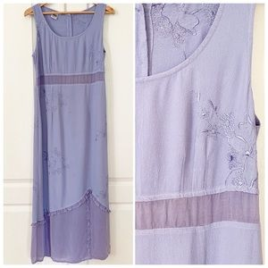 Johnny Was | Lilac Floral Embroidered Maxi Dress M